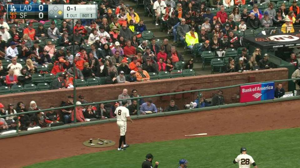 Posey's bat flies into netting