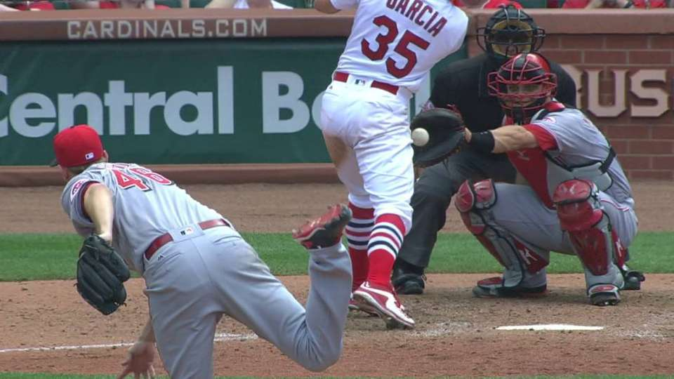 Garcia gets hit by a pitch