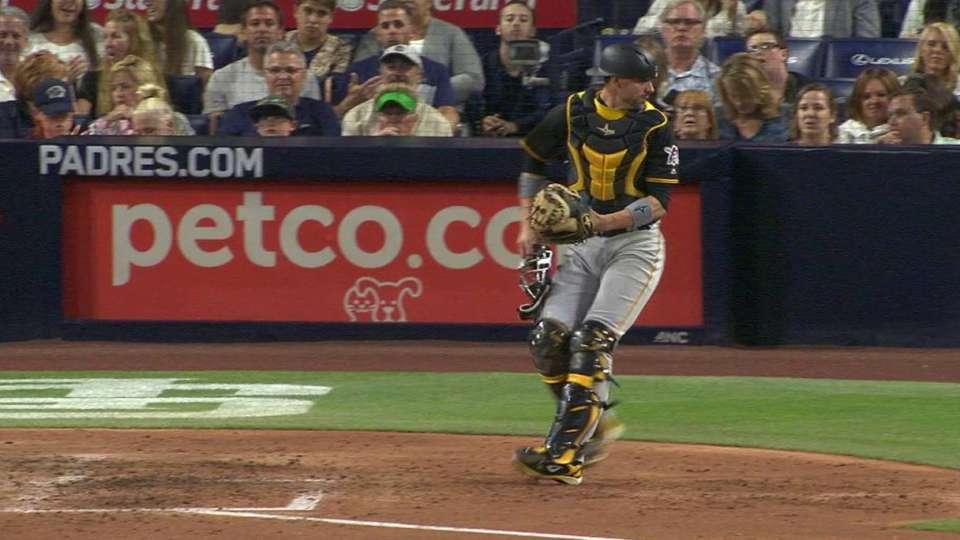Wild pitch finds umpire's pocket