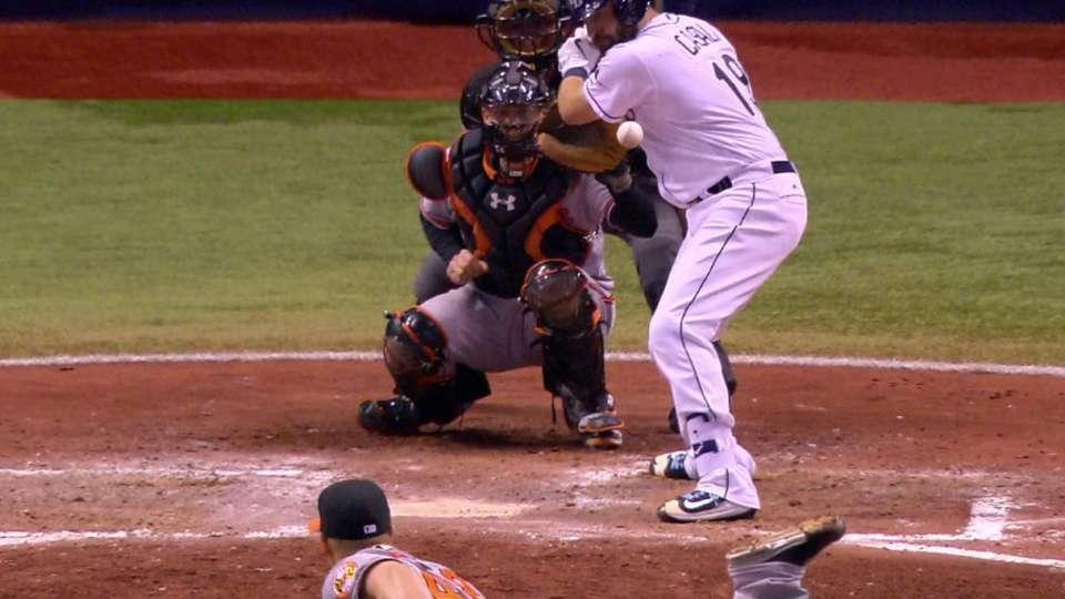 Casali gets hit, plate run