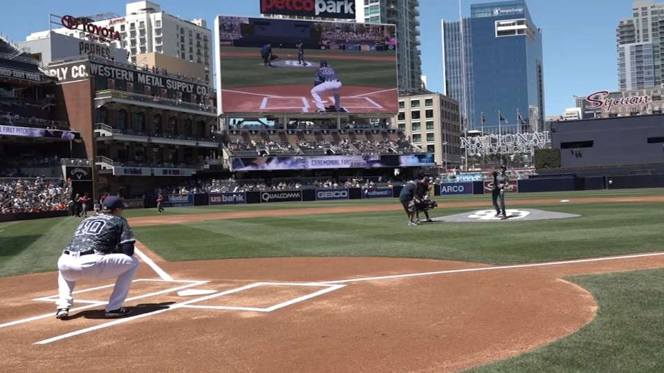 Flo Groberg throws first pitch