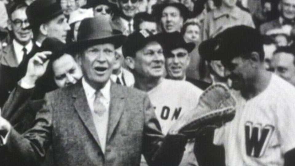 Eisenhower's first pitch in 1958