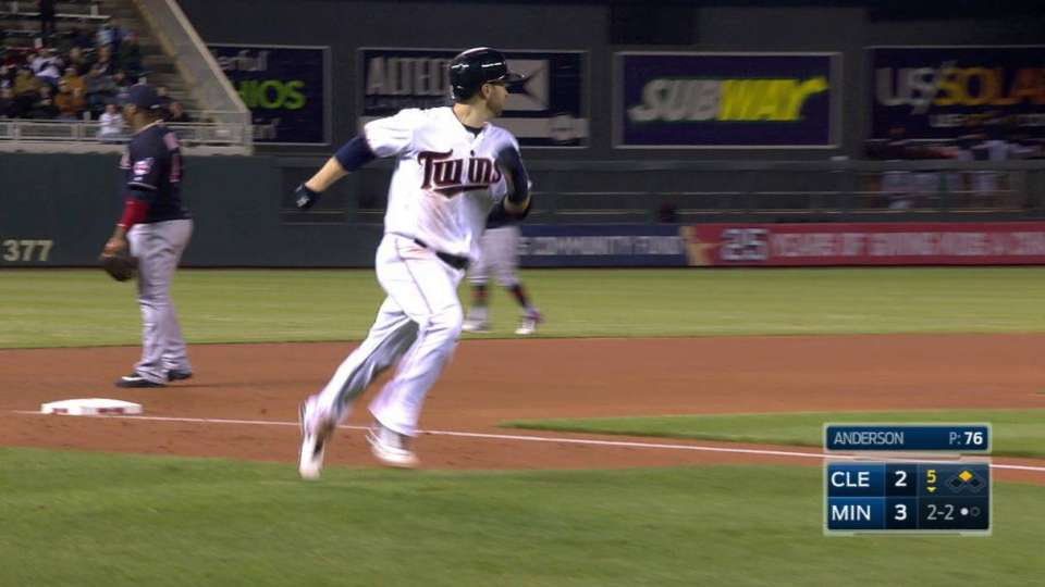 Mauer's ground-rule RBI double