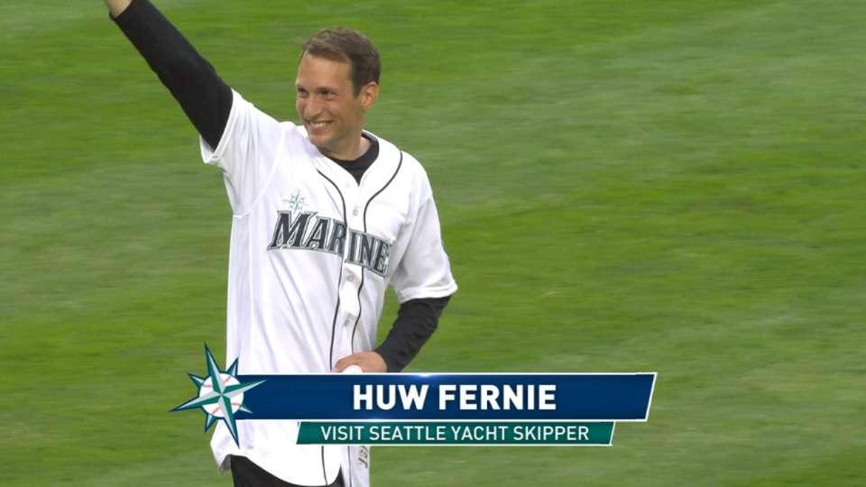 Huw Fernie throws first pitch