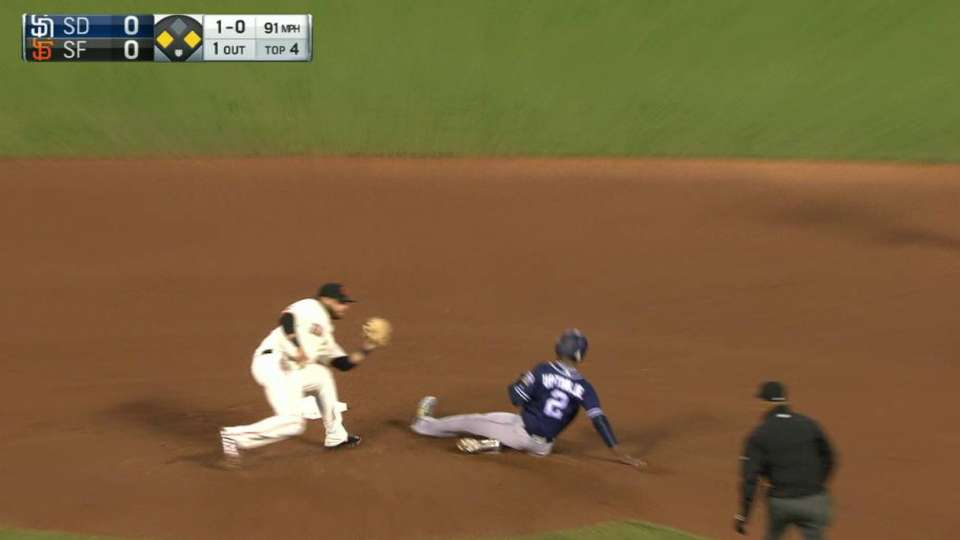 Posey throws out Upton Jr.