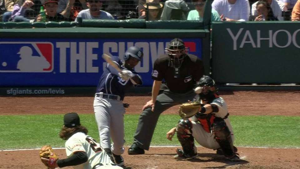 Brown shaken up by foul ball