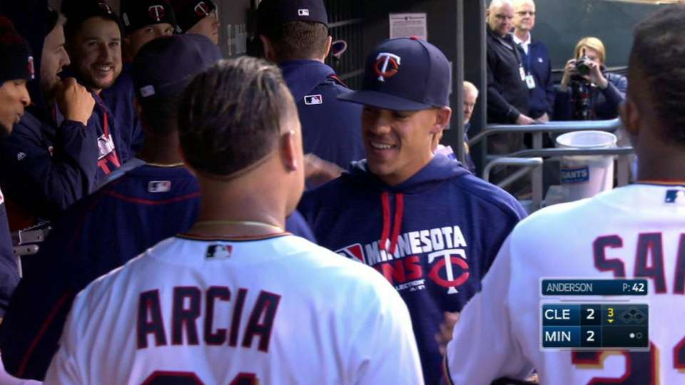 Berrios welcomed in Twins dugout
