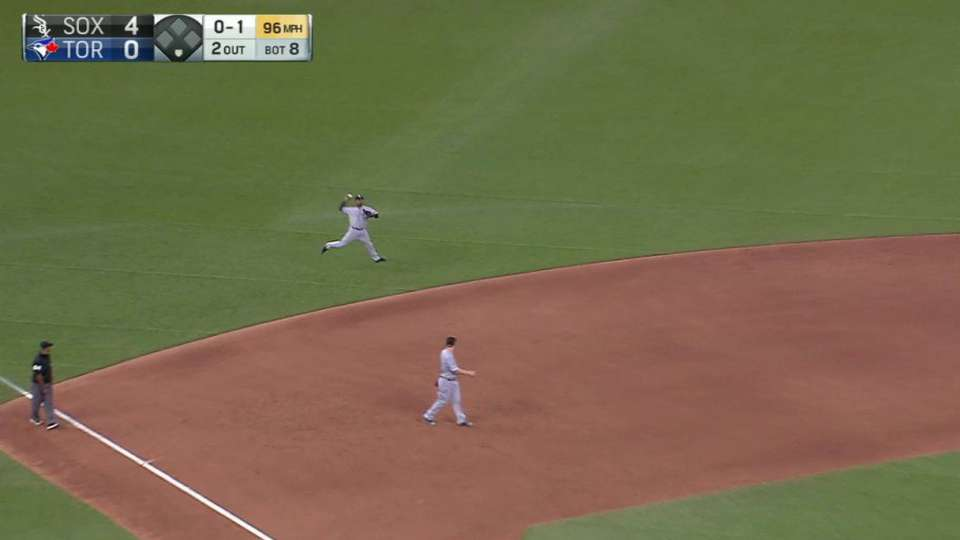 Rollins' leaping throw