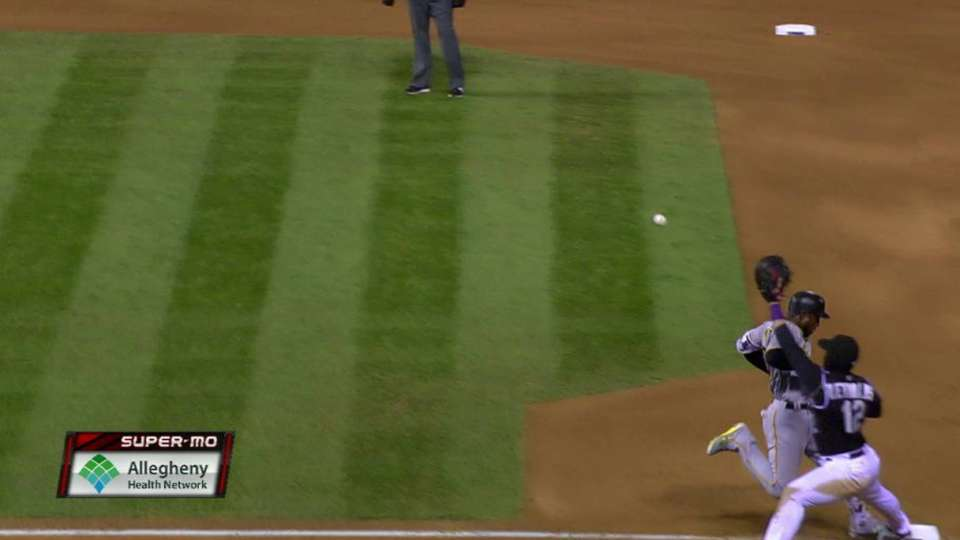 Marte beats the throw to first