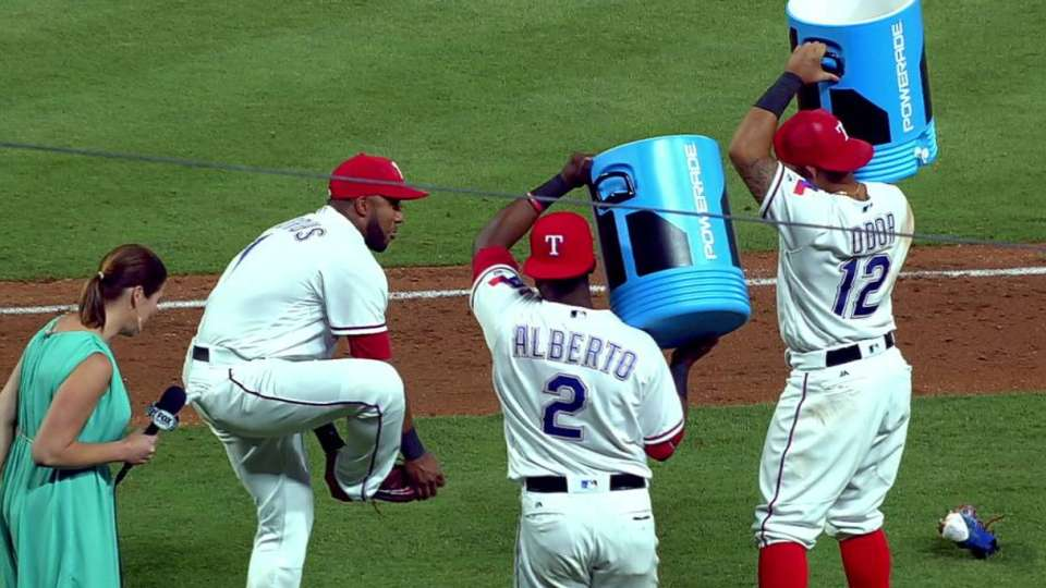 Andrus on 3-2 win, gets drenched