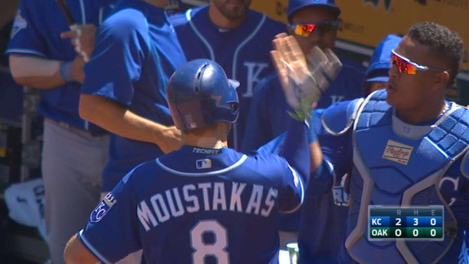 Royals high-five after homer