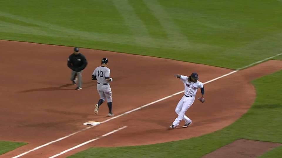 Hanley nearly falls at first