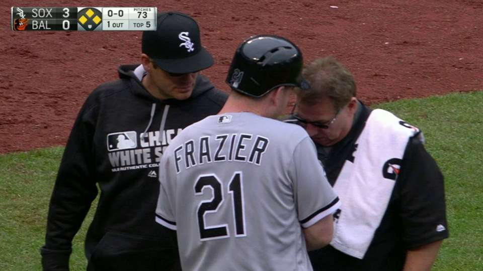 Frazier gets HBP, stays in game