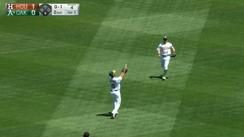 Semien's over-the-shoulder catch