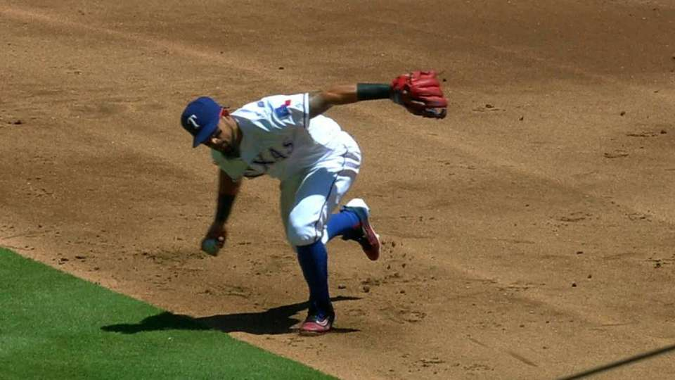 Odor's barehanded throw to first