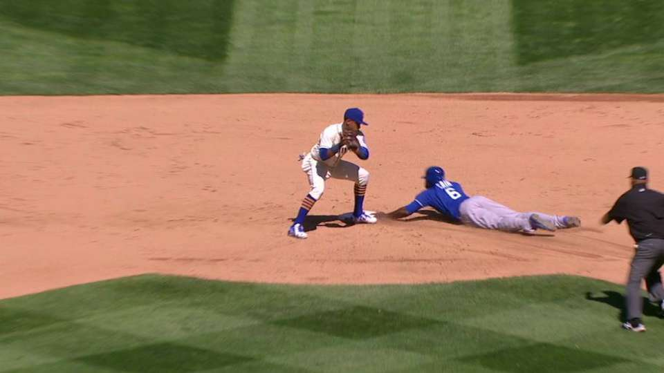 Cain steals second base