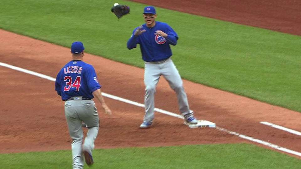 Lester throws glove for out