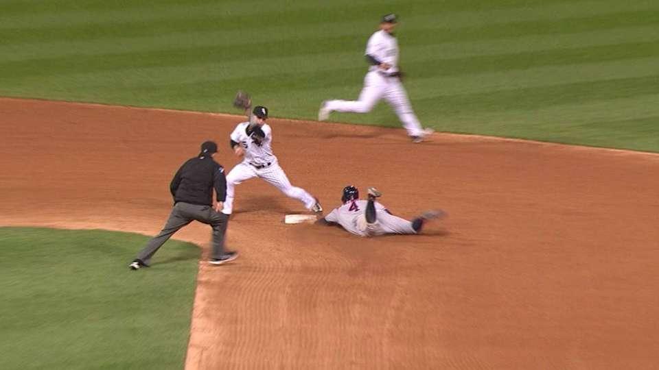 Springer steals second base