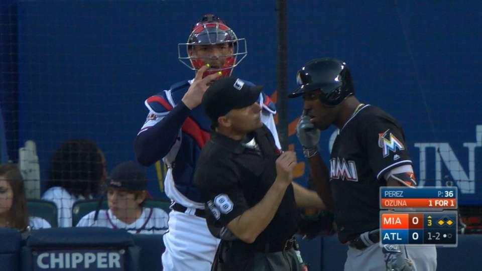 Ozuna's eye exam with umpire