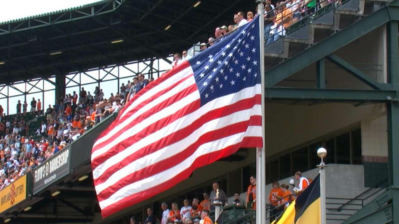 4e2ecac953b MLB honors veterans at ballparks across the nation. MLB pays tribute on Memorial  Day
