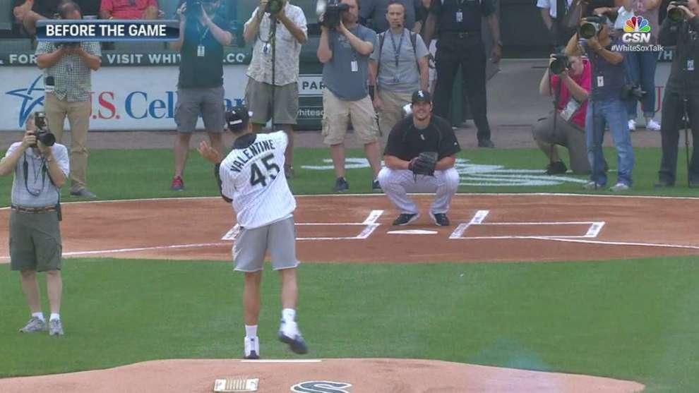 cc27f65adadf Chicago Bulls Draft pick Denzel Valentine throws White Sox first pitch