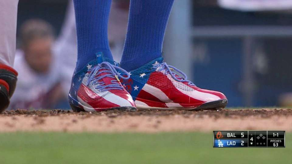 Puig shows off July 4 cleats
