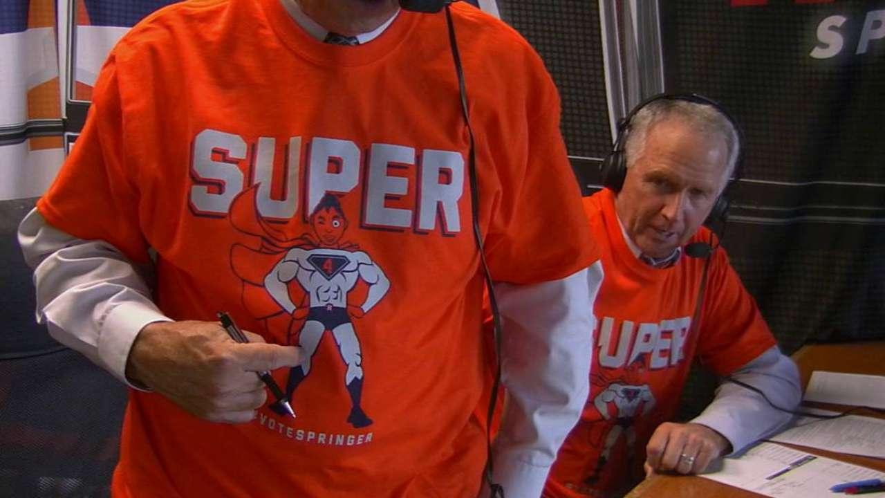 the latest 7788f 0d024 Announcers wear Springer shirt