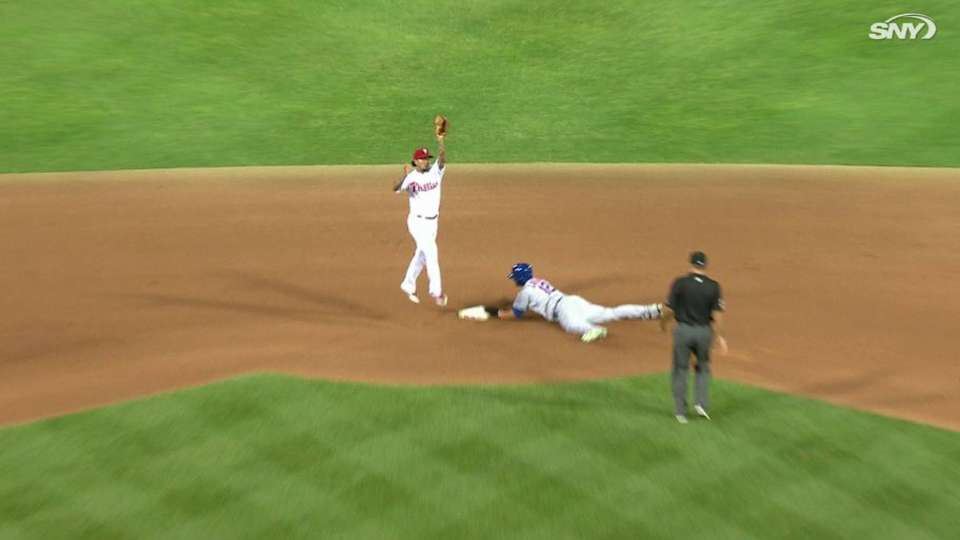 Lagares steals second base