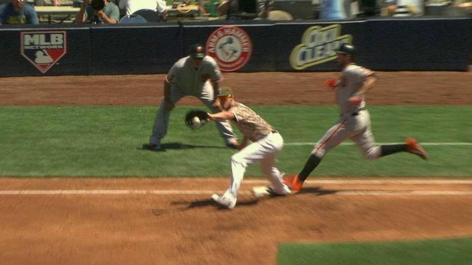 Padres challenge Belt safe call