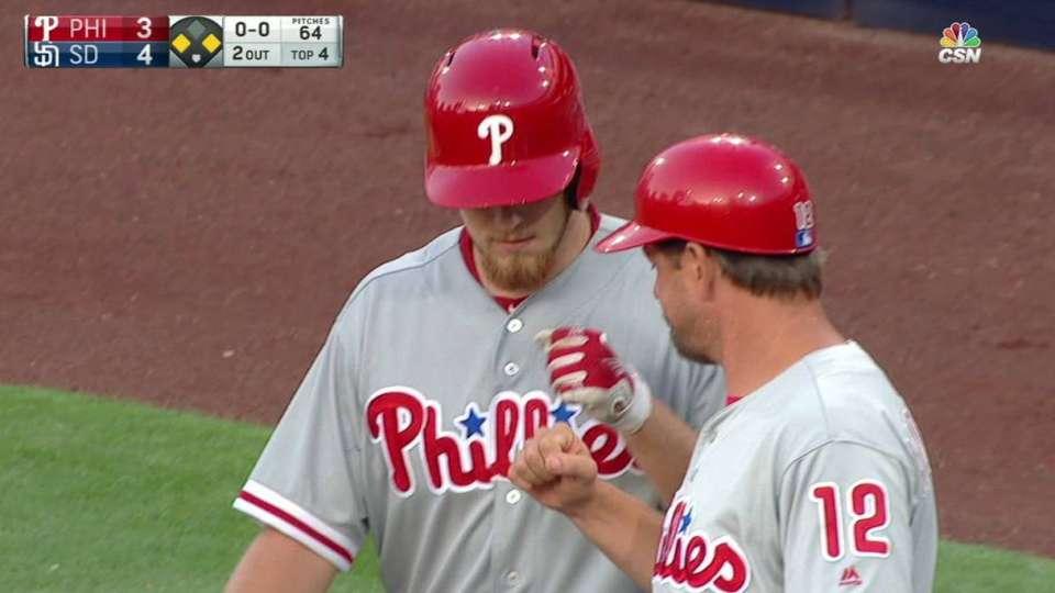Thompson's first career MLB hit