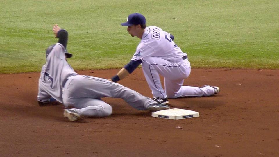 With Brett Wallace batting, Derek Norris steals (6) 2nd base.