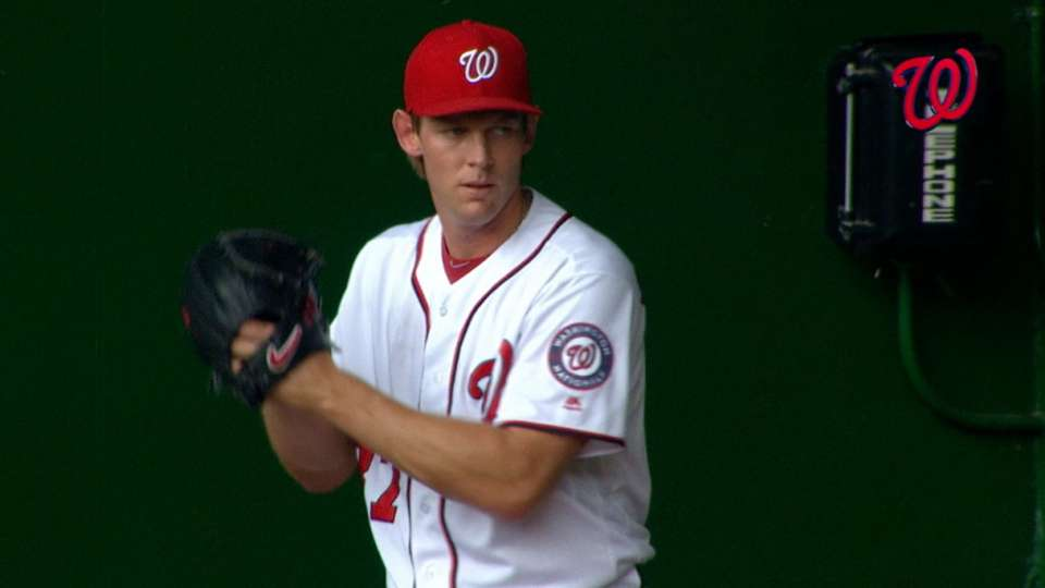 Strasburg fans eight in seven