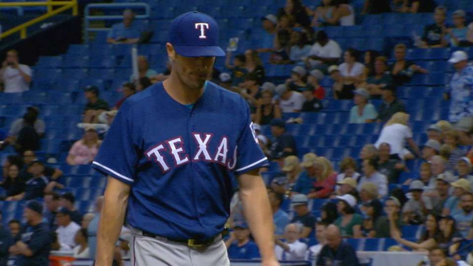 Hamels dominates Rays in win