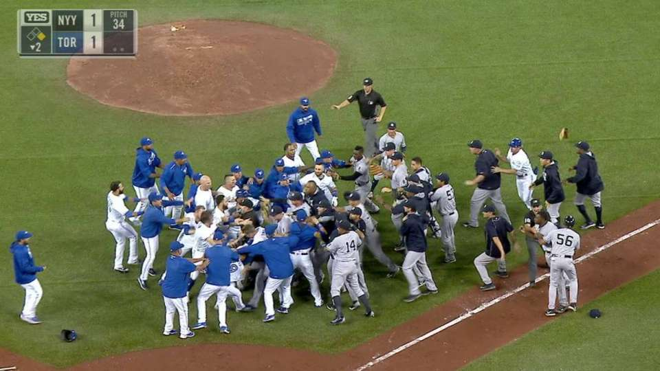 Benches clear again in Toronto