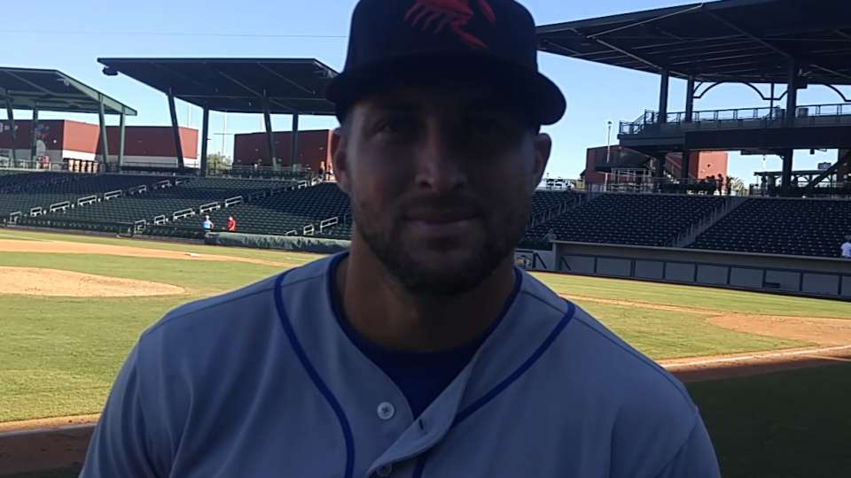 Tebow on his first AFL hit