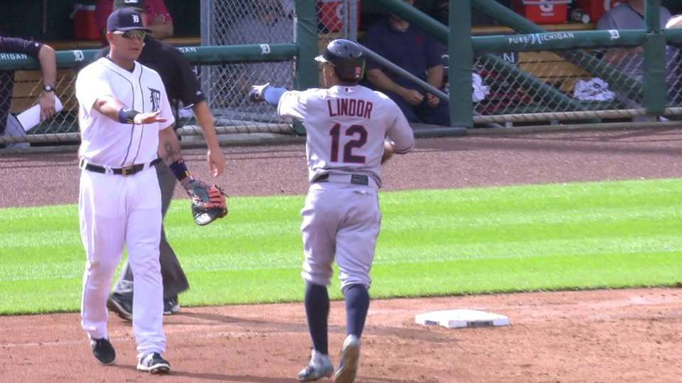 Lindor tumbles after first hit