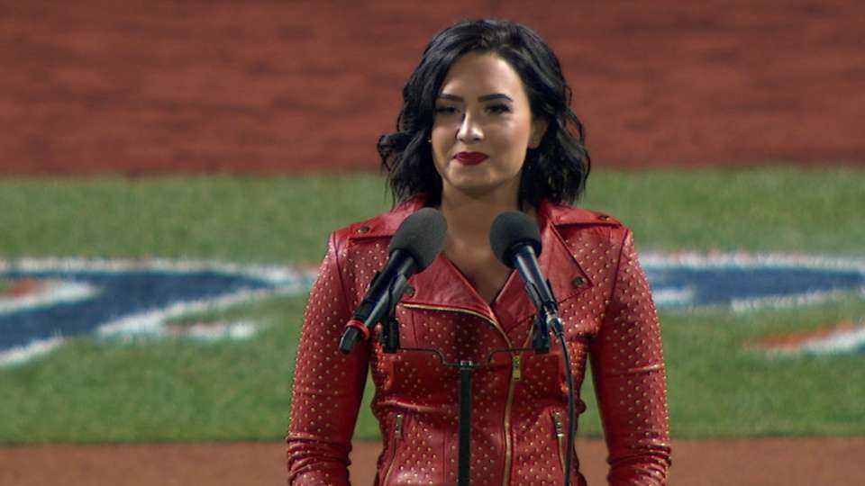 Demi Lovato sings anthem