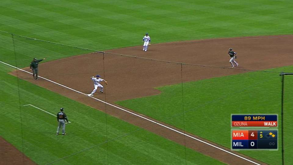 Brewers' triple play