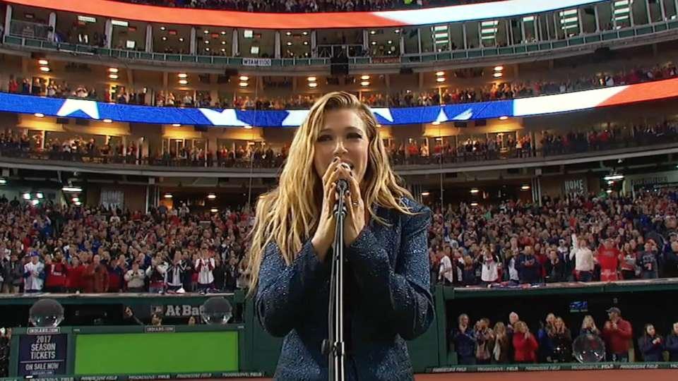Platten sings national anthem