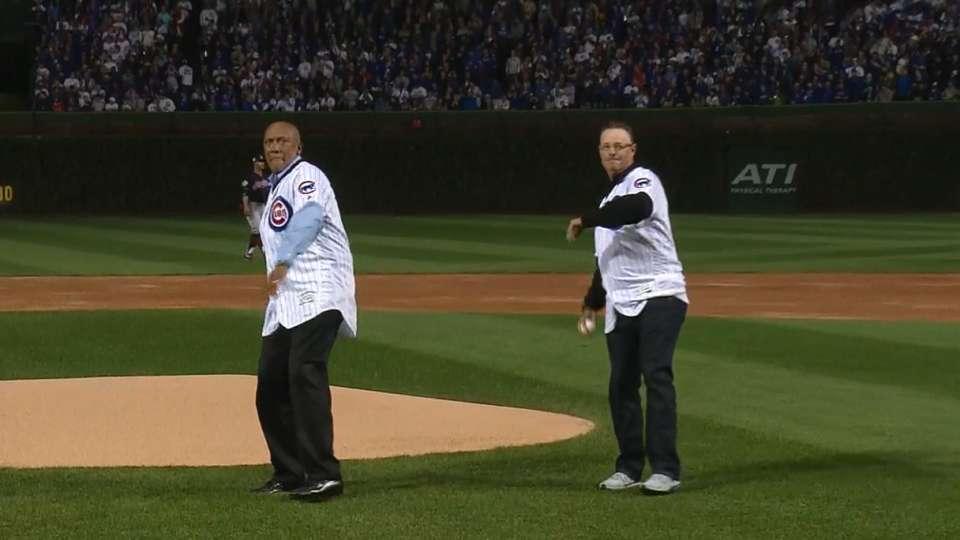 Jenkins, Maddux toss first pitch