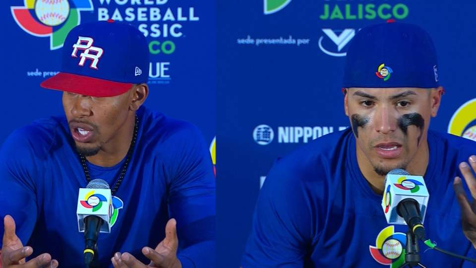 Lindor, Baez on fans in stands