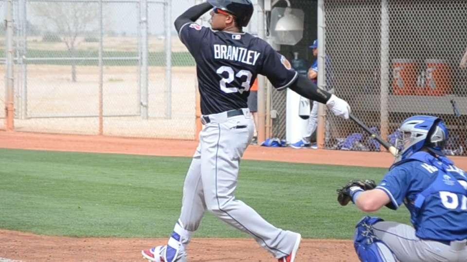 Brantley doubles in debut
