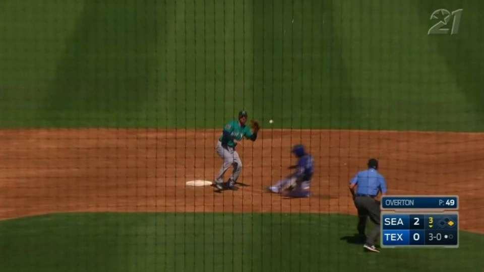 DeShields steals his second base