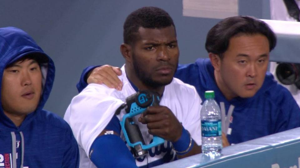 Puig uses muscle massager
