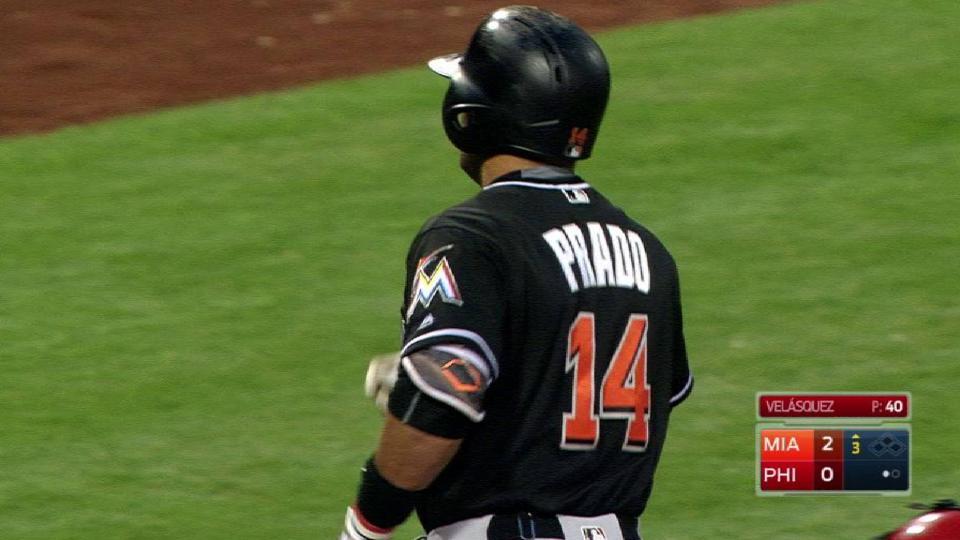 Prado's solo homer to left