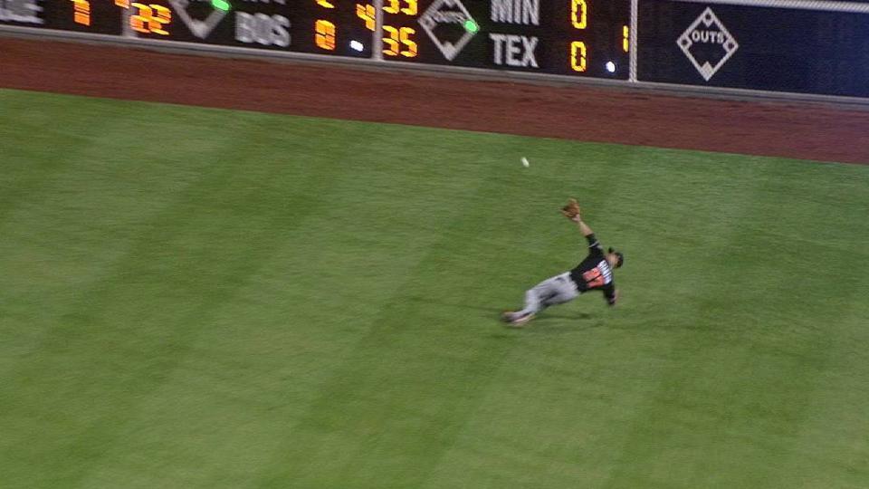 Stanton's acrobatic catch