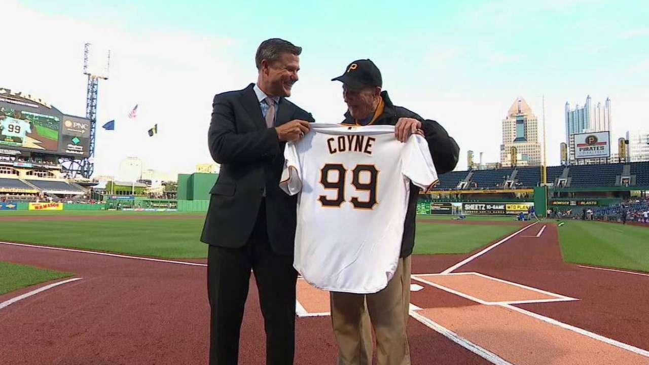 pirates usher phil coyne celebrates his 99th birthday at the