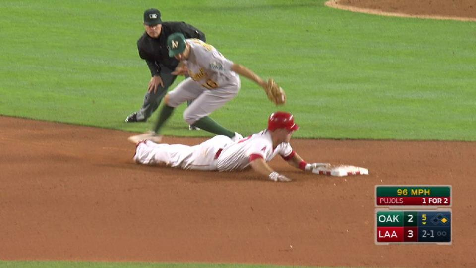 Trout swipes second base