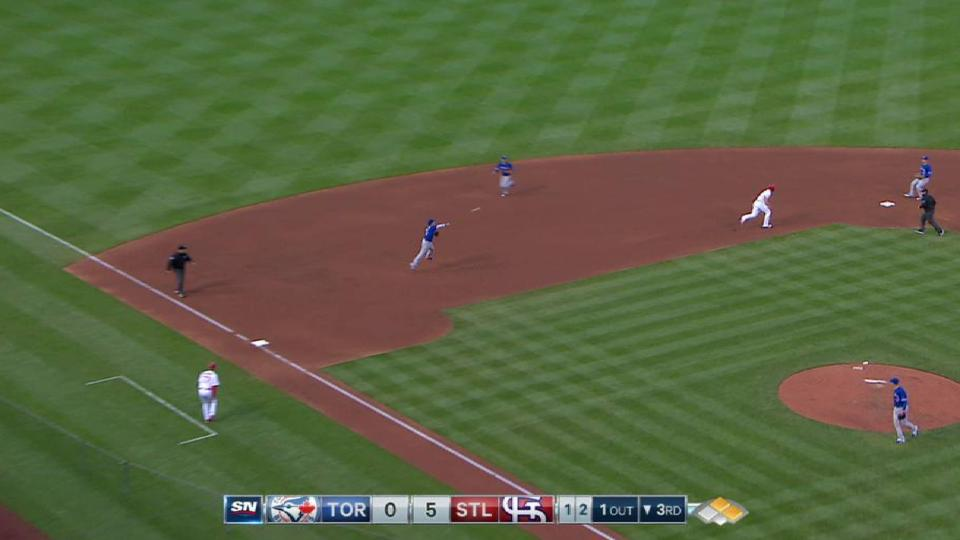 Coghlan turns a double play