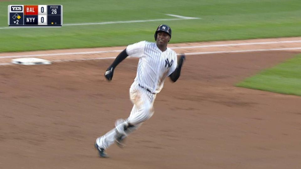 Gregorius doubles first time up